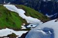 Картинка горное, лед, снег, горы, зелень, озеро