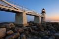 Картинка пейзаж, мост, камни, маяк