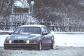 Картинка Зима, Снег, BMW, БМВ, Фары, E39, Stance