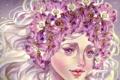 Картинка глаза, взгляд, девушка, цветы, лицо, волосы, арт