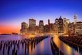 Картинка закат, ночь, city, город, панорама, сумерки, new york