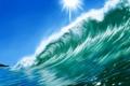 Картинка небо, солнце, природа, арт, волна, море