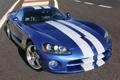 Картинка синий, полосы, купе, суперкар, диски, viper, додж