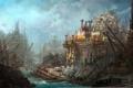 Картинка город, корабли, остов, арт, разруха, руины, док