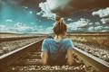 Картинка девушка, пейзаж, железная дорога