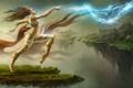 Картинка девушка, скалы, магия, молнии, танец, арт, летающие