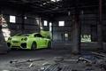 Картинка Nissan, GT-R, Green, Tuning, Wheels, Garage, Window
