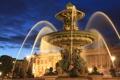 Картинка ночь, огни, Франция, Париж, фонари, фонтан, архитектура