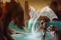 Картинка скалы, девушка, дух, меч, красные глаза, озеро, арт