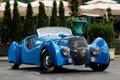 Картинка синий, ретро, фон, Пежо, Peugeot, кусты, передок