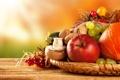 Картинка осень, яблоки, грибы, урожай, виноград, тыква, фрукты