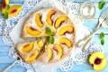 Картинка пирог, мята, персик, выпечка, вилки, сахарная пудра