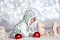 Картинка огни, счастливые, зайцы, ребенок, малыш, свет, праздник