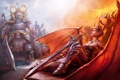 Картинка девушка, крылья, меч, корона, демон, воин, рога