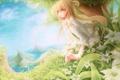 Картинка море, зелень, трава, острова, цветы, дерево, волосы