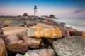 Картинка природа, камни, океан, маяк