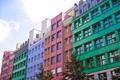 Картинка небо, деревья, город, дом, цветные, квартира, разноцветные