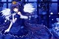Картинка взгляд, девушка, крылья, аниме, корона, платье