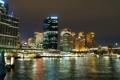 Картинка ночь, огни, берег, дома, небоскребы, Австралия, фонари