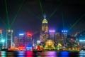 Картинка Гонконг, неон, лодки, горизонт, Китай, лазерные лучи, лавровый