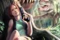 Картинка корни, пистолет, дерево, джунгли, динозавры, Tomb Raider, Lara Croft