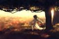Картинка девушка, закат, природа, дерево, аниме, арт, sombernight