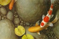 Картинка листья, рыбки, галька, пруд, камни, картина, арт
