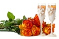 Картинка бокалы, розы, праздник, цветы