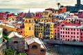 Картинка море, краски, башня, дома, Италия