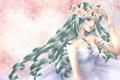 Картинка девушка, цветы, фон, платье, vocaloid, hatsune miku, венок