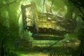 Картинка лес, человек, корабль, костер, цепи, blade and soul
