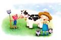 Картинка цветы, поляна, рисунок, корова, шляпа, девочка, зверёк