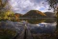 Картинка осень, листья, деревья, горы, озеро, отражение, дерево