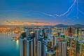 Картинка небо, огни, молния, дома, Гонконг, вечер, Цзюлун