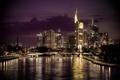 Картинка город, река, ночь, мост, Frankfurt