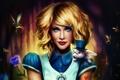 Картинка цветок, улыбка, кролик, блондинка, алиса, шляпа