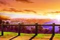 Картинка море, пейзаж, закат, город, забор, вид, перила