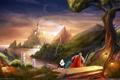 Картинка море, замок, мир, фэнтези, колонны, ступени, путники