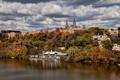 Картинка осень, небо, деревья, природа, река, Вашингтон, США
