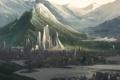 Картинка вода, пейзаж, горы, мост, город, озеро, река