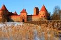Картинка зима, небо, снег, замок, растение, башня, мостик