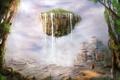 Картинка горы, фантастика, человек, остров, джунгли, арт, by cloudminedesign