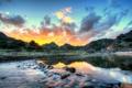 Картинка небо, облака, пейзаж, природа, река, HDR, Калифорния