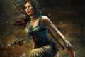 Картинка девушка, пистолет, дождь, Tomb Raider