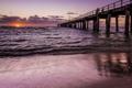 Картинка закат, мост, море