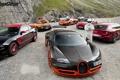 Картинка Top Gear, bugatti veyron, ford mustang, stig, ferrari f430.