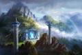 Картинка пейзаж, горы, птицы, скалы, радуга, арт, колонны