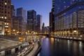 Картинка ночь, мост, огни, река, улица, дома, Chicago