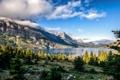 Картинка Montana, лес, Glacier National Park, природа, горы, озеро, St. Mary Lake