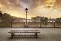 Картинка закат, мост, город, Париж, вечер, лавочка, Сена
